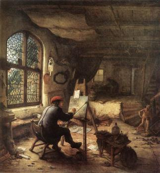 Adriaen Jansz Van Ostade : The Painter in His Studio